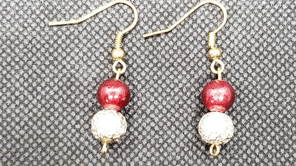 Red/Gold Round Bead Earrings