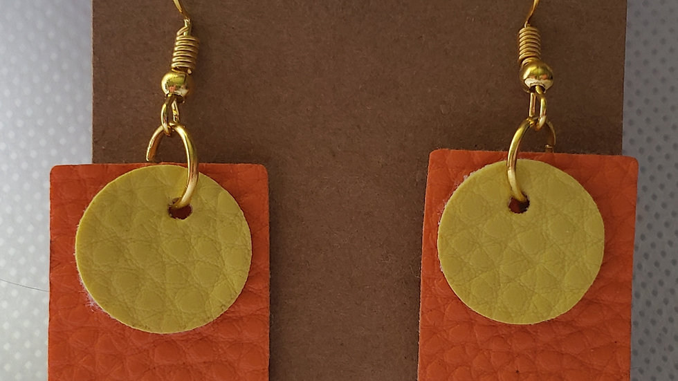 Faux Leather Orange and Yellow Earrings
