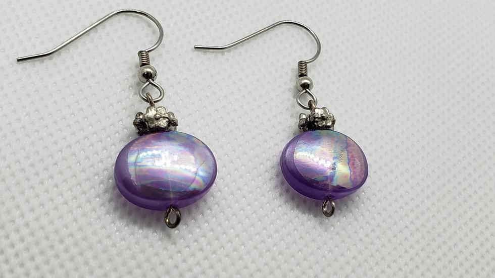 Purple Iridescent Earrings w/ Flower