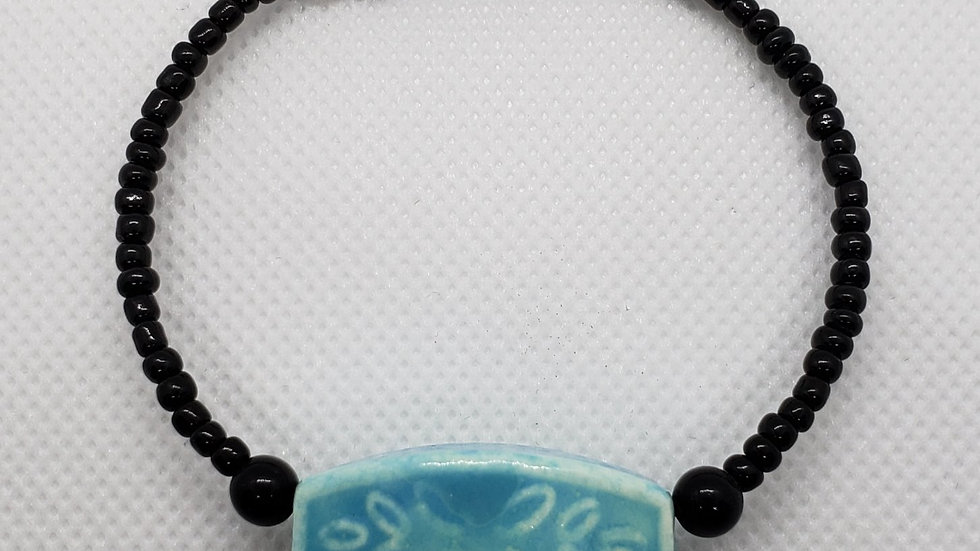 Turquoise/Black Memory Wire Bracelet