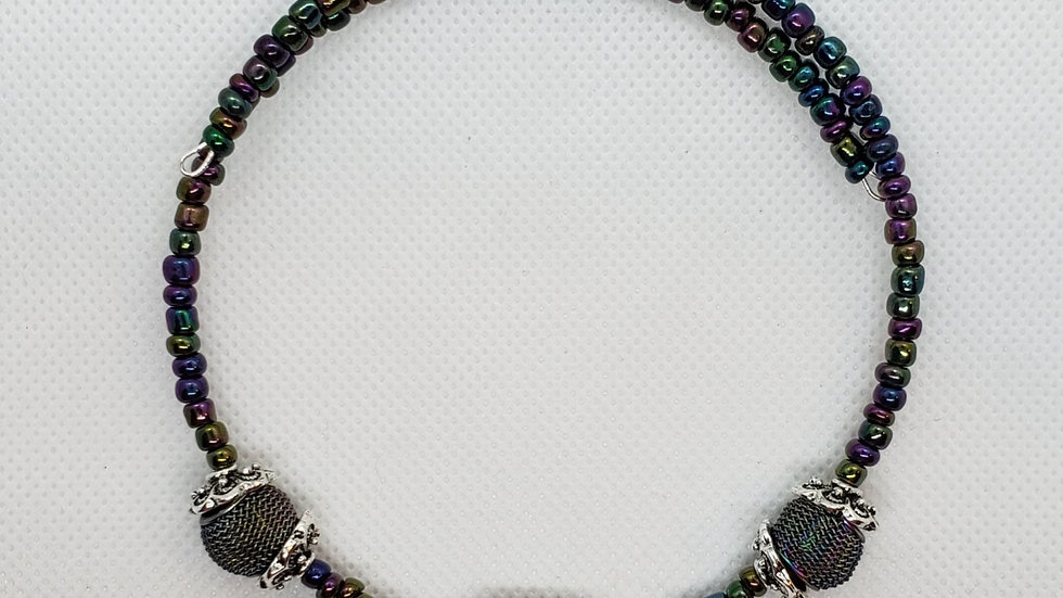 Iridescent Purple/Green Mesh Memory Wire Necklace