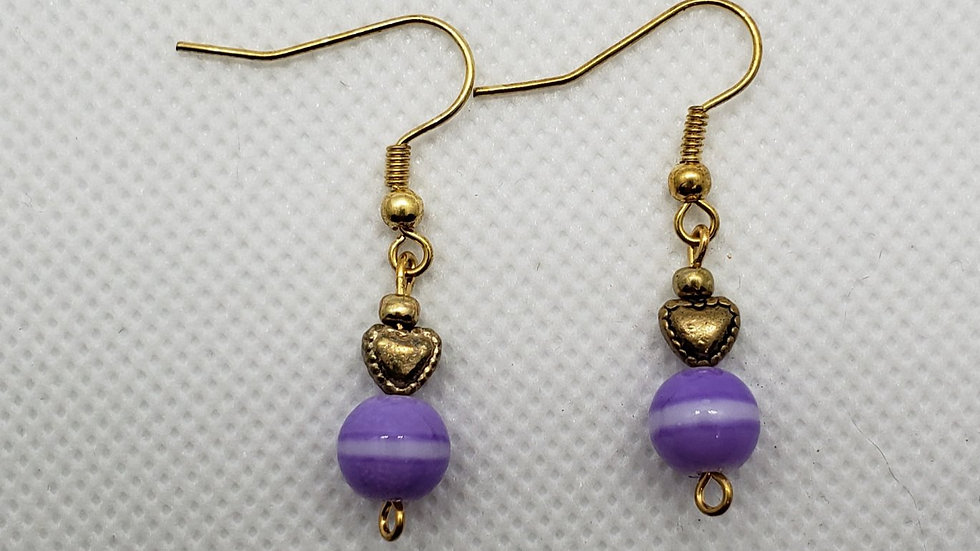 Purple with Gold Heart Earrings