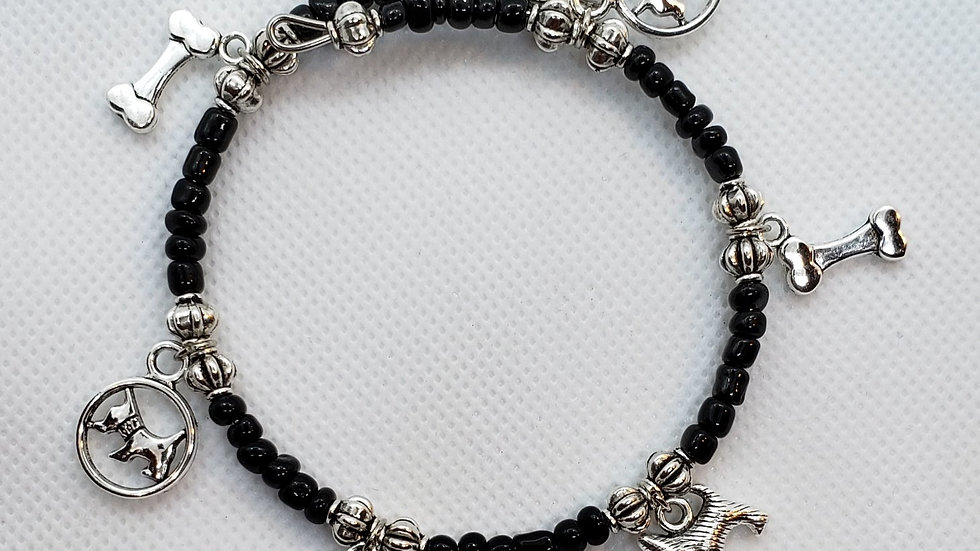 Scottish Terriers in Circles Memory Wire Bracelet