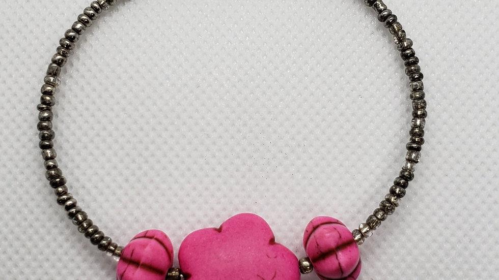 Hot Pink Flower Memory Wire Bracelet