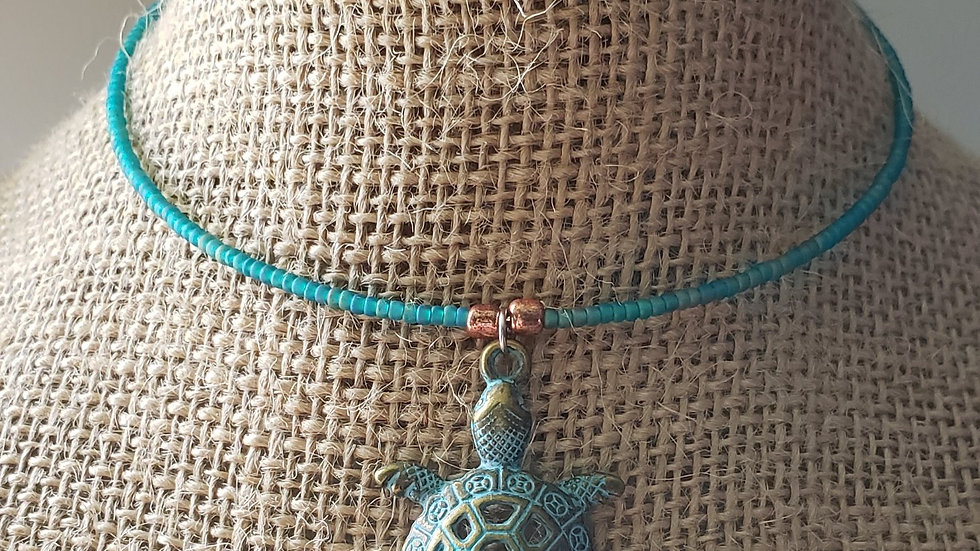 Lonely Turtle Memory Wire Necklace