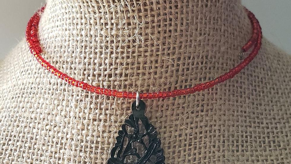 Black Bird Memory Wire Necklace