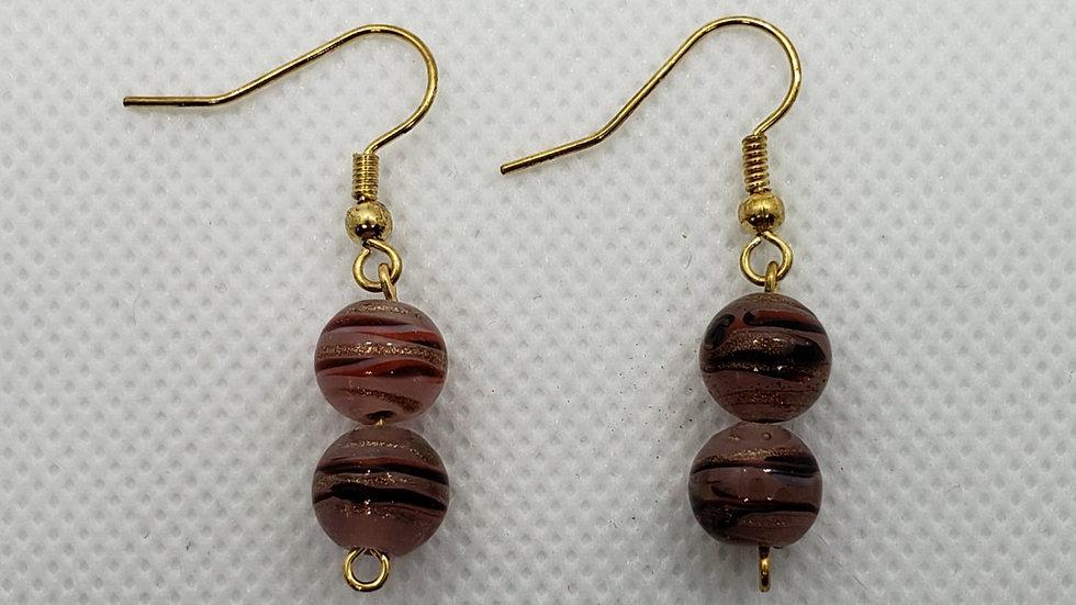 Pink/Gold Swirl Earrings