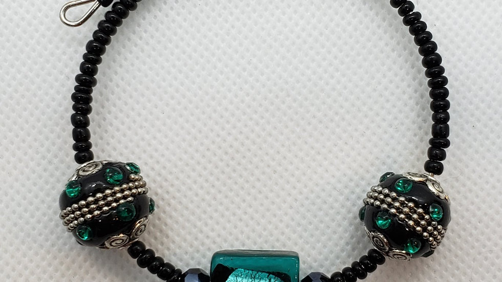 Teal/Green and Black Memory Wire Bracelet
