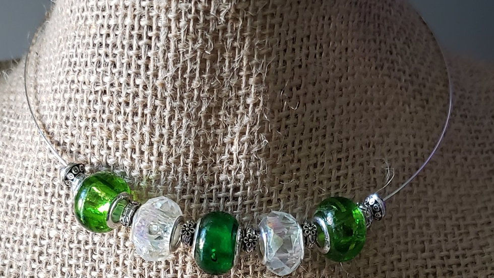 Green and White Memory Wire Necklace