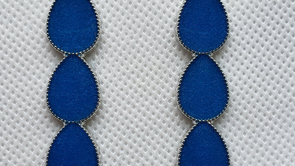 Blue and Silver Long Earrings
