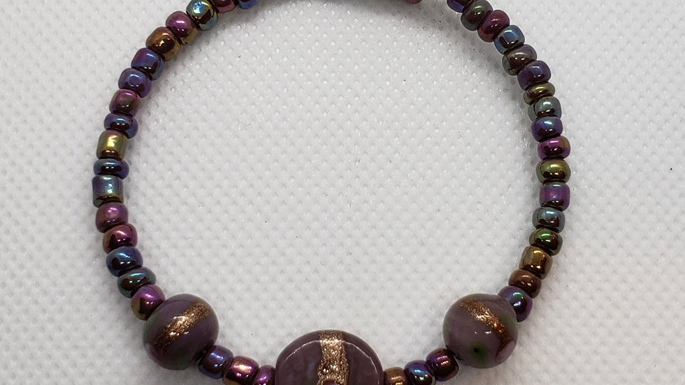Iridescent Purple and Gold Memory Wire Bracelet