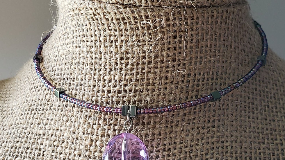 Pretty in Purple Memory Wire Necklace