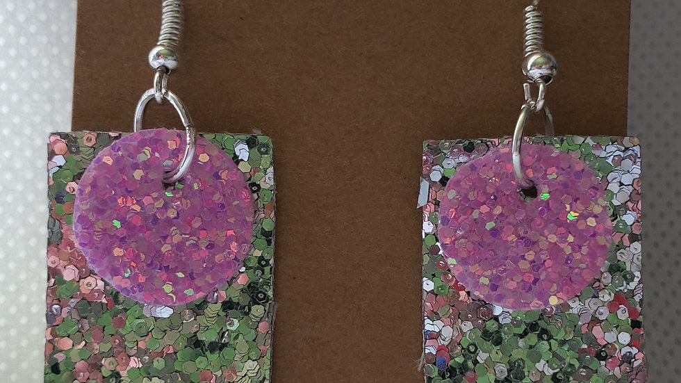 Faux Leather Pink and Silver Glitter Earrings