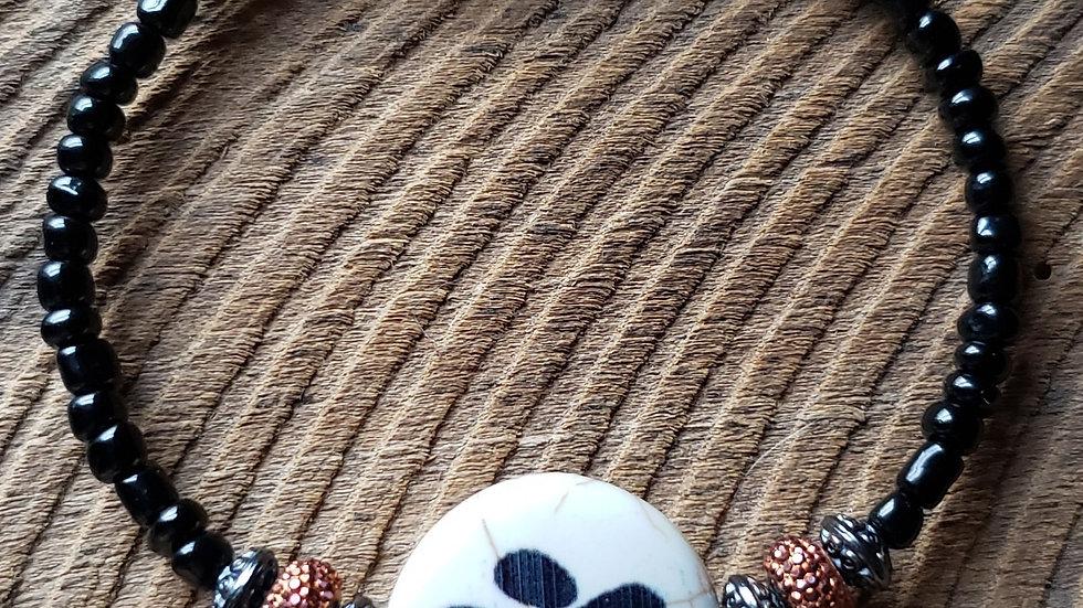 Black/Copper Pawprint Memory Wire Bracelet