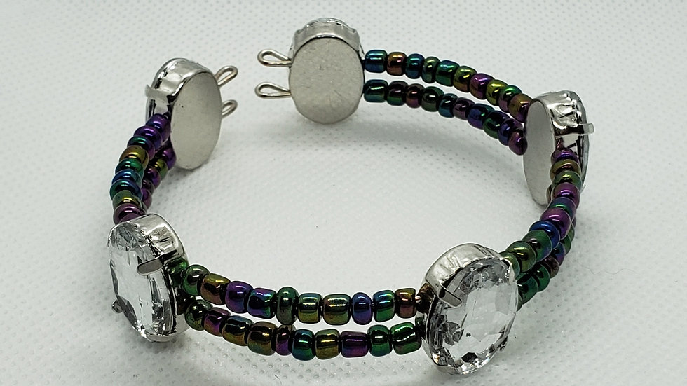 Purple Iridescent Double Wire Bracelet