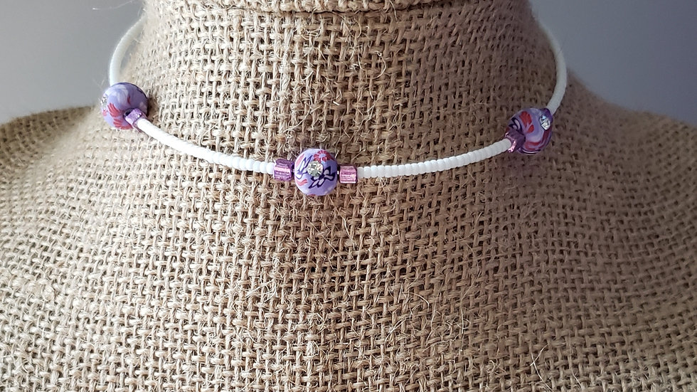 Purple and White Memory Wire Necklace