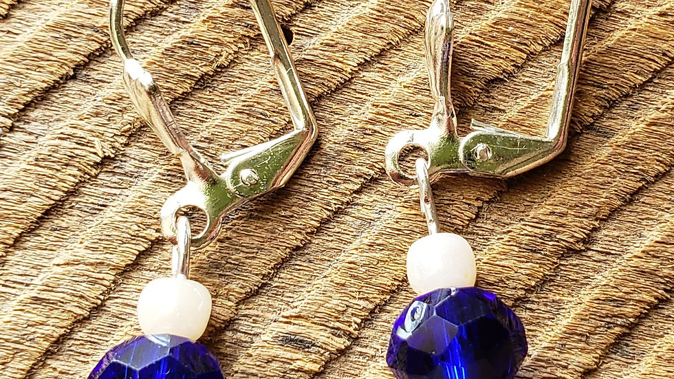 Blue and Cream Earrings