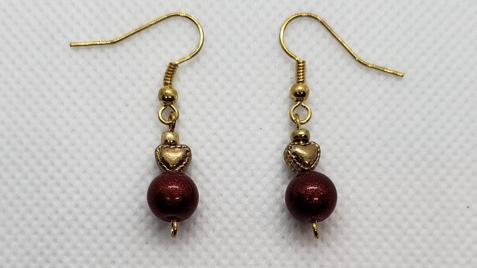 Red with Gold Heart Earrings