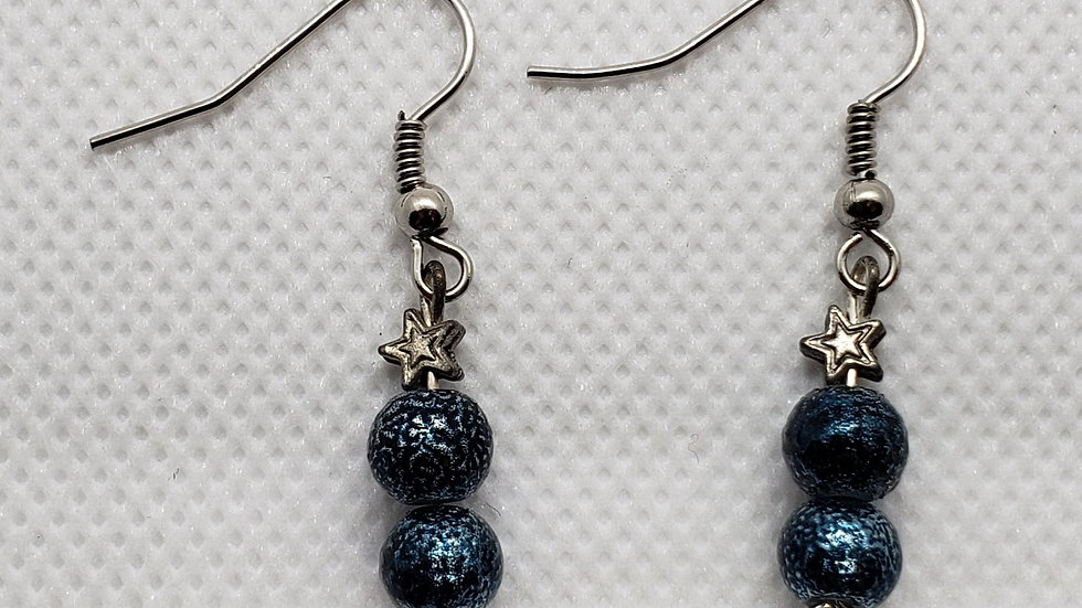 Silver Star and Blue Bead Earrings