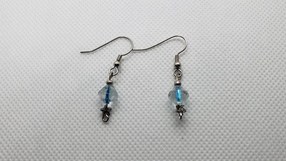 Clear/Blue Earrings w/ Stars