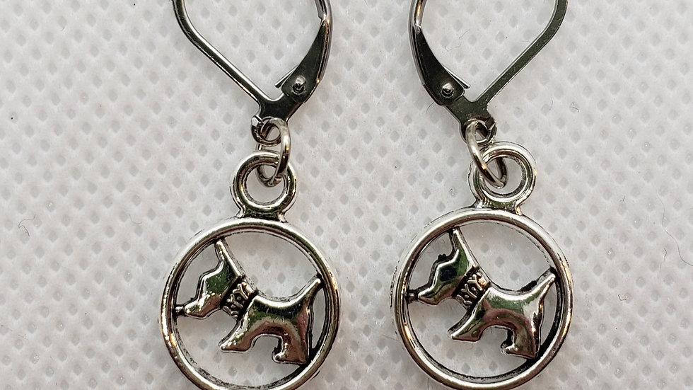 Scottish Terrier in Circle Earrings