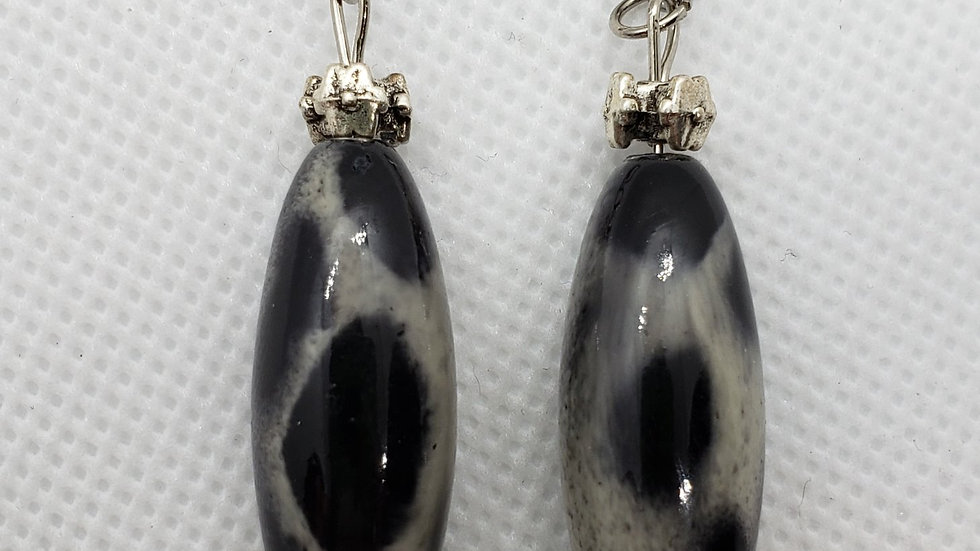 Grey/Black Earrings with Floral Finding