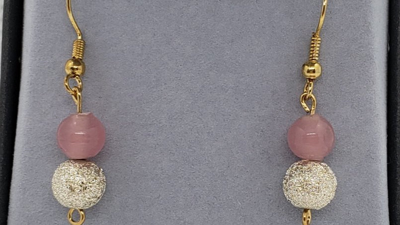 Pale Pink and Gold Earrings