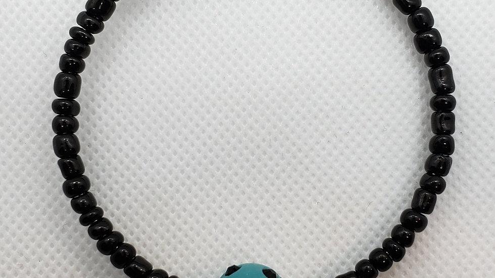 Aqua/Black Memory Wire Bracelet