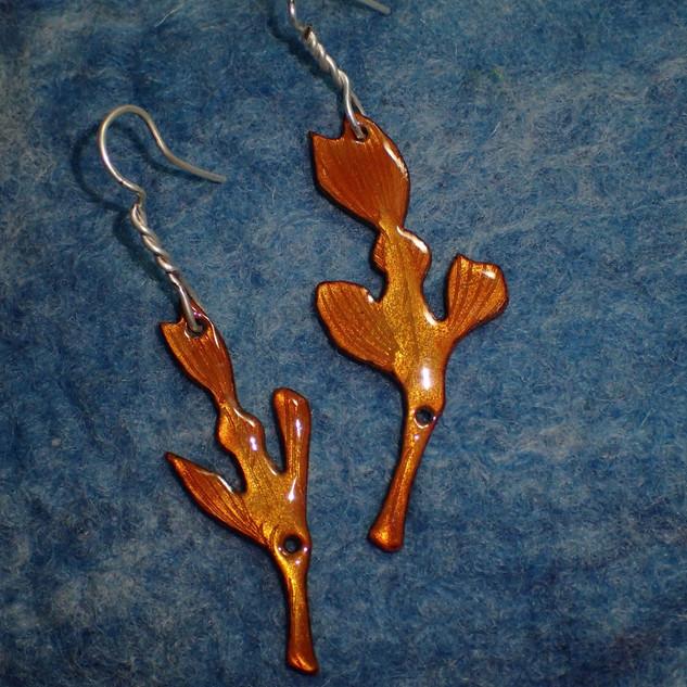 Ghost pipefish enamel earrings I
