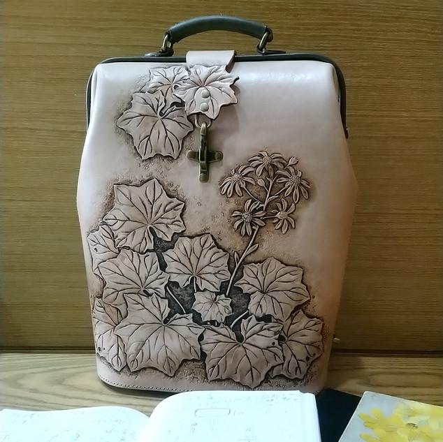 Backpack with Farfugium japonicum var. formosanum
