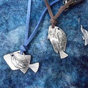 Fish pendants and earrings