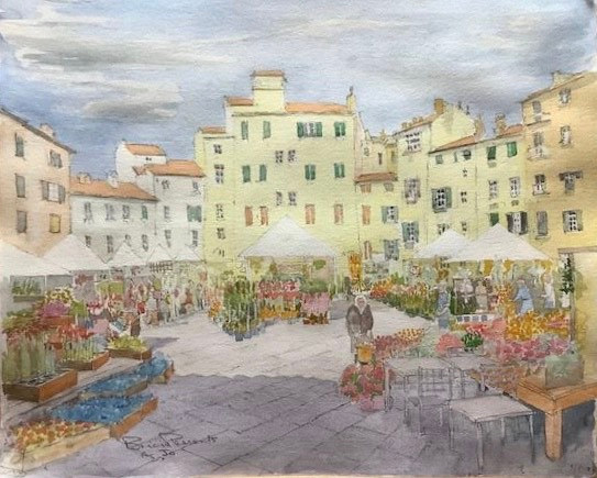 Brian Pleasants 'Flower Market, Lucca, Italy'