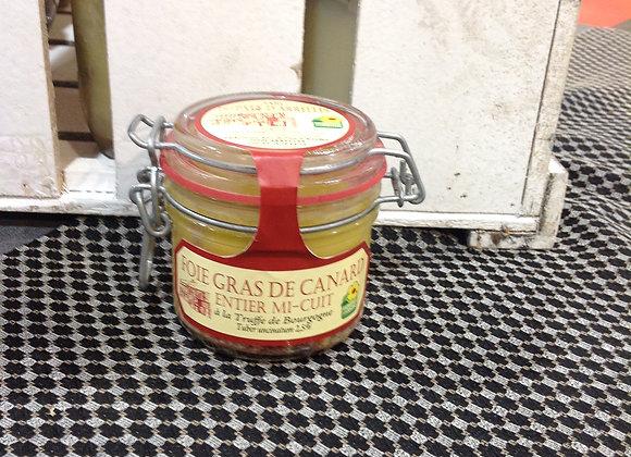 Foie gras de canard mi-cuit à la truffe en pot de 180g