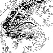 RobotDragon Line Art