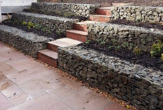 gabion with stairs
