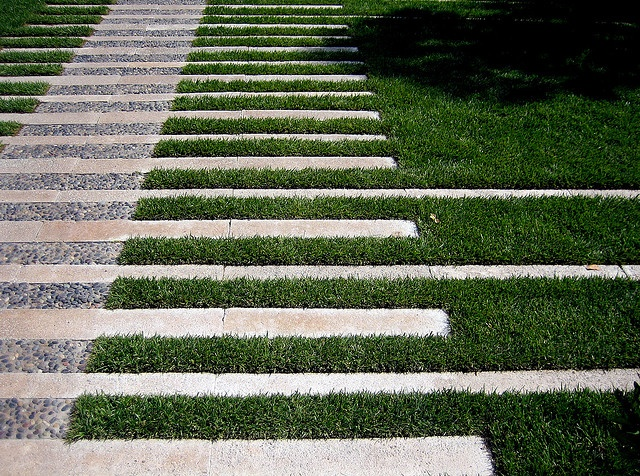 path with tiles and grass