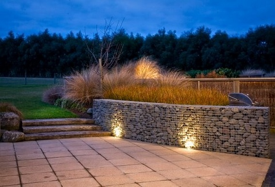 night gabion wall
