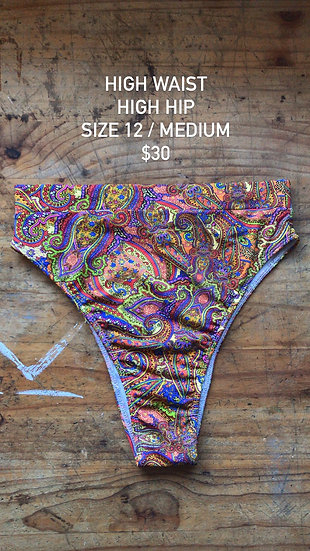 Paisley high hip brief (size 12)