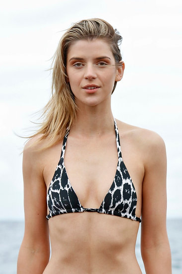 Snow Leopard Triangle Bikini Top