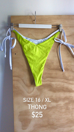 Electric Lime V Dip Brief Thong (size 16)