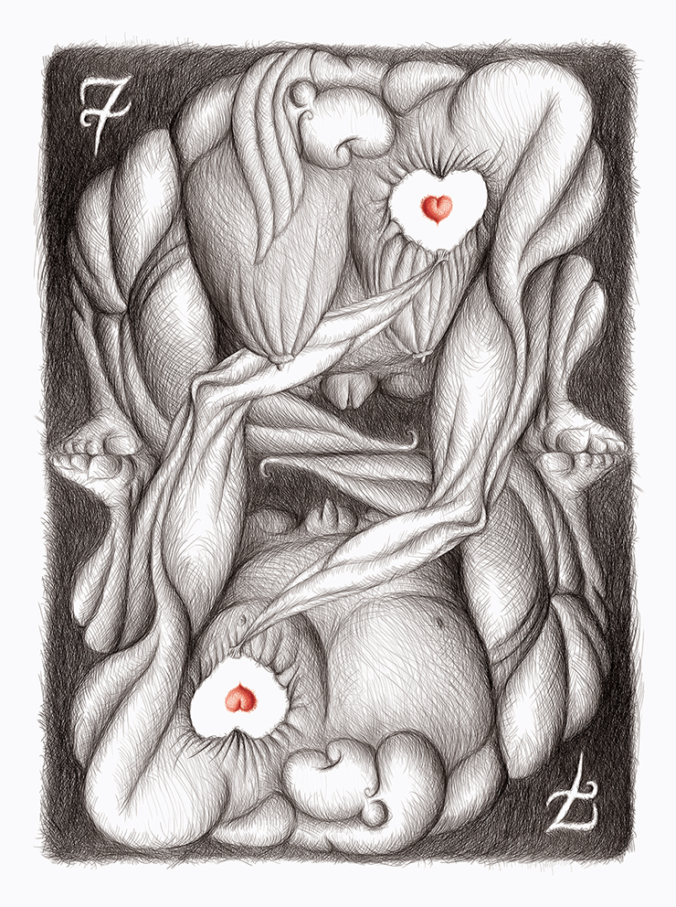 'Seven of Hearts' - 74x100 cm - Digital