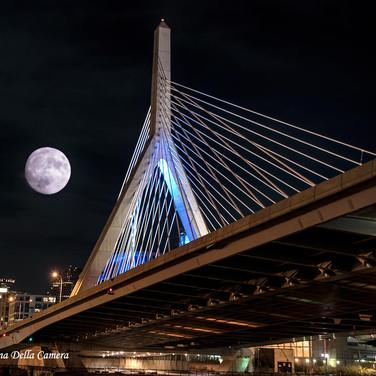 Super Moon over the Zakim Bridge, Boston