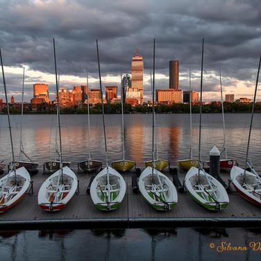 Sailboats along the Charles River