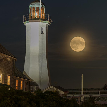 Harvest Moon over Scituate Light