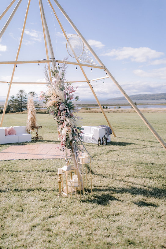 Stunning Nordic Kata Tipi without canvas, popular for a chill-out or bar area. They look amazing with fairy lights.