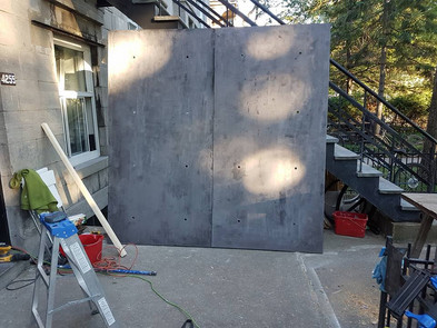 Cement wall prop in the making