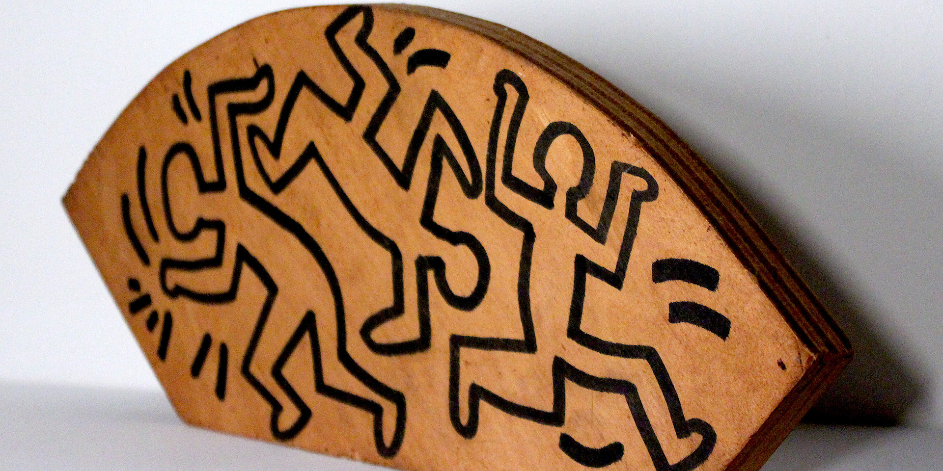"""Keith Haring, """"Untitled (Wood Drawing)"""", 1982, Marker on plywood, 6"""" x 15"""" x 0.75"""""""