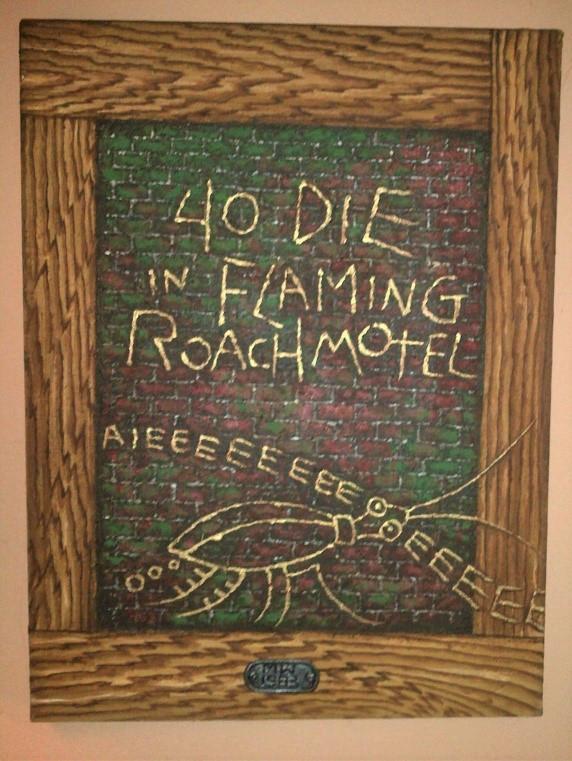 """Martin Wong """"40 Die Flaming Roach Motel"""" 1983"""