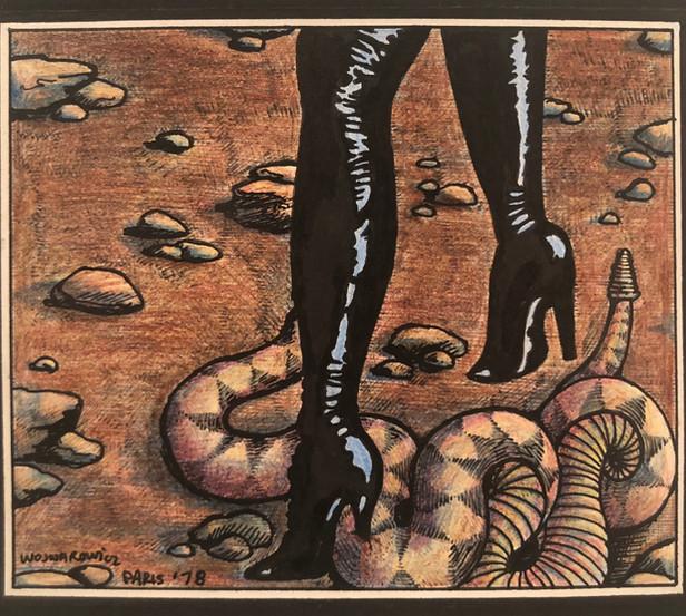 """David Wojnarowicz """"Black Boots with Snake"""" 1978"""