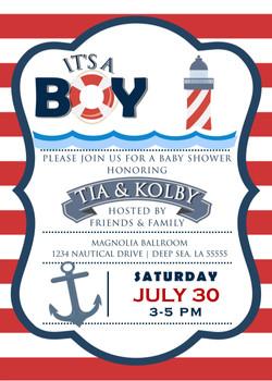 Nautical It's A Boy Baby Shower Invite